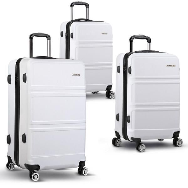 "3pc Luggage Set 20, 24 and 28"" – White – Click Online Sales"