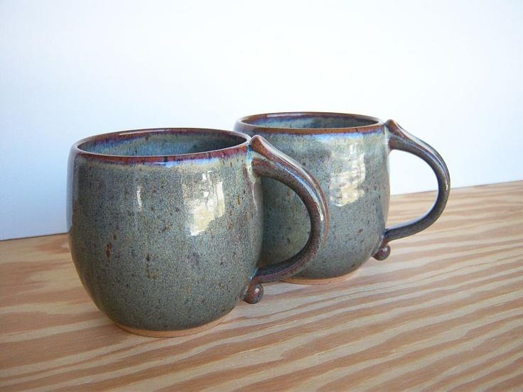 Stoneware Coffee Cups in Fog Glaze - Ceramic Pottery Mugs - Set of 2. $40.00, via Etsy.