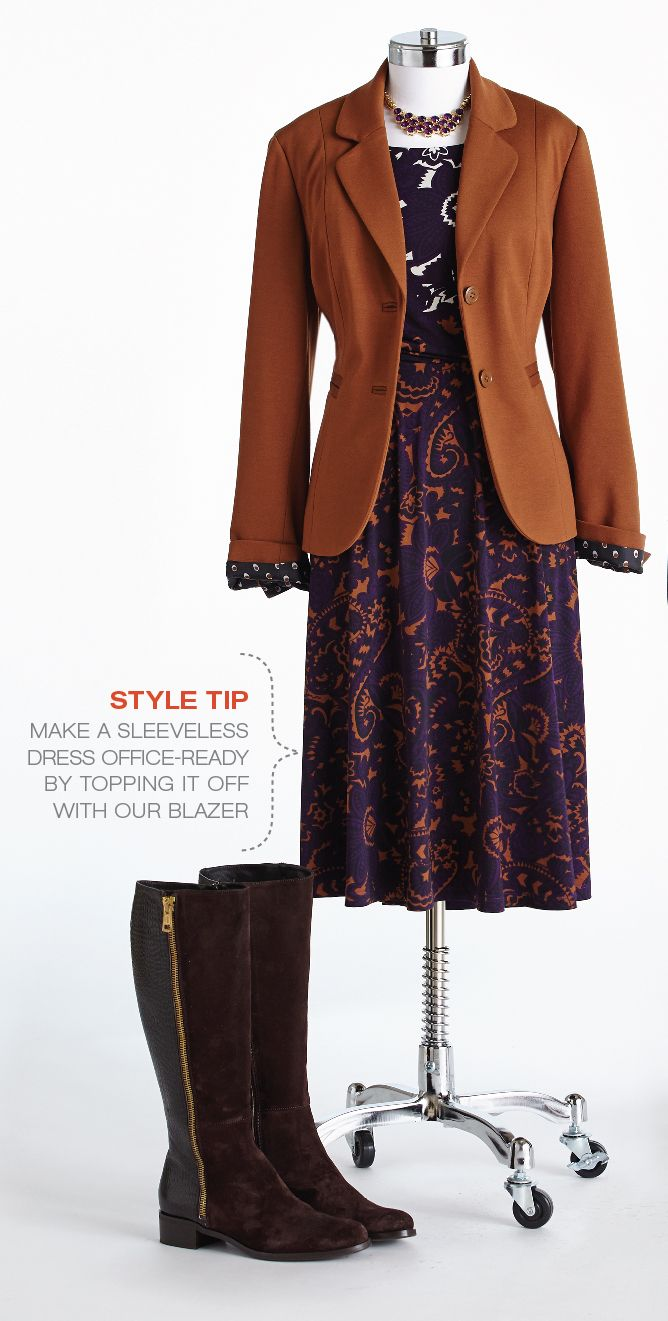 "Cleo Fall Style with Lynn Spence: Style Tip ""Make a sleeveless dress office-ready by topping it off with our blazer."""