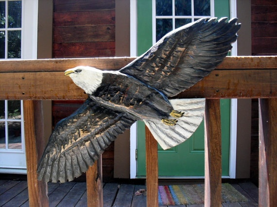 Flying bald eagle quot chainsaw wood carving indoor