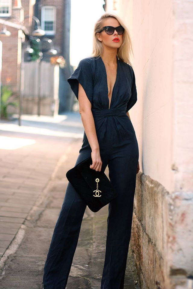 but white . . alyssa by wynona navy silk jumpsuit                                                                                                                                                      More