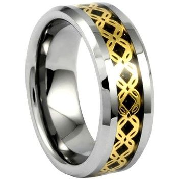 Portofino Tungsten Ring Gold Crisscross Pattern Over Black Carbon Fiber Sizes 8-13 Made To Order
