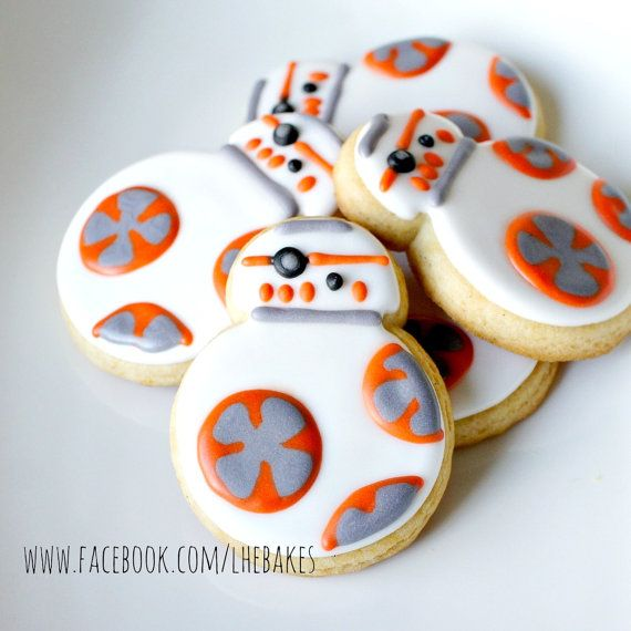Star Wars BB8 Droid Decorated Sugar Cookies - Half or Full Dozen