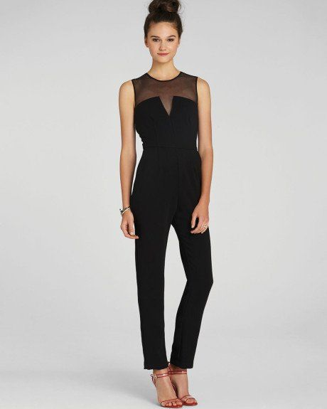 Sheer Topped Jumpsuit with Vegan Leather Banded Waist and Pockets Size: True to Size Designer: Adelyn Rae