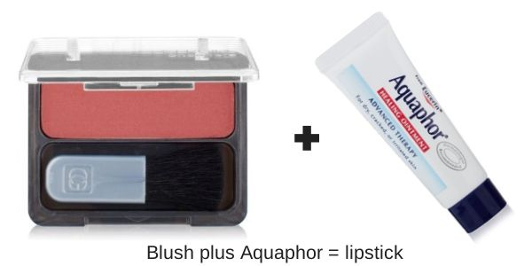 Pack one less thing! Create lipstick by combining blush with something like Aquaphor or Vaseline.  - #herpackinglist