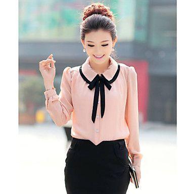 Women's Cute Contrast Bow Collar Half Sleeve Shirt