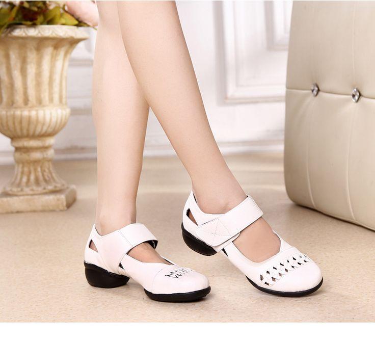 夏季新款廣場舞鞋女成人軟底中跟鏤空舞蹈鞋女現代健身白色跳舞鞋-淘寶網全球站 | Shoes, Flats, Fashion