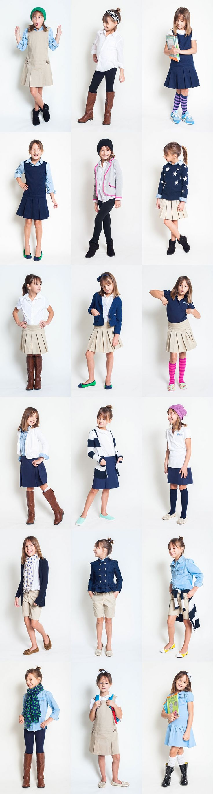 School Uniform Style Project! |E will have plaid dress, plaid skirt, khaki skirt, charcoal pants or skirts, navy tops or navy cardi w/ logo