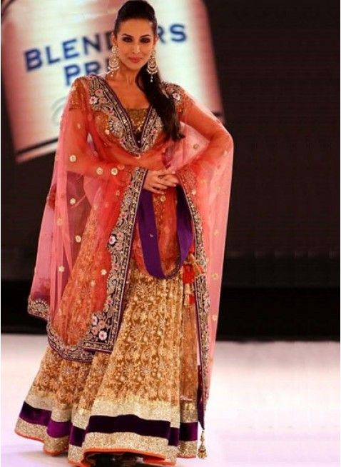 Malaika Arora in Golden #Lehenga at Ongoing #Fashion Tour