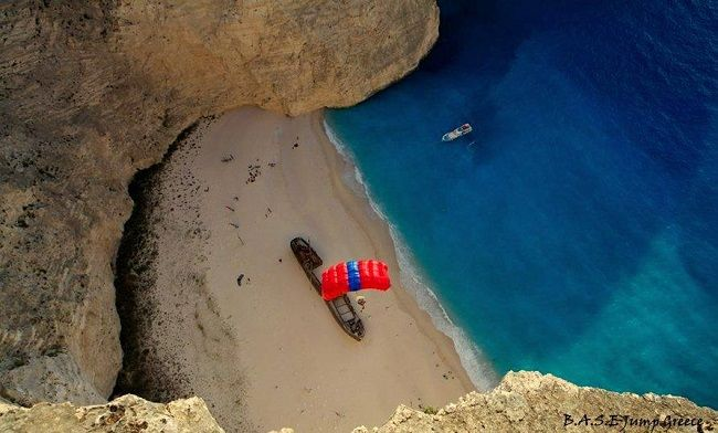 VISIT GREECE   Air sports in Greece, Paratroopers on Zakynthos #baseJump #zakynthos #sea #sports #airsports #activities #outdoors #see&do