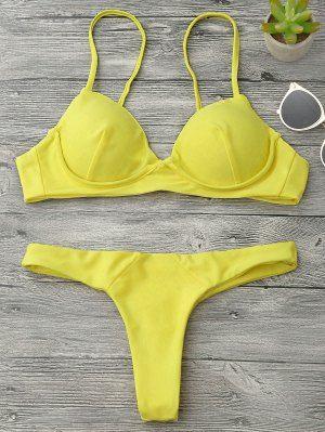 Traje De Bikini Con Thong Con Relleno Con Aros - Amarillo S