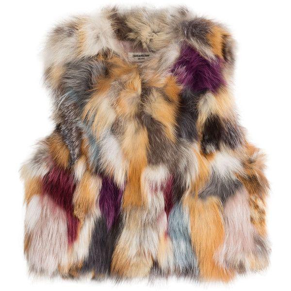 Zadig & Voltaire Fee Deluxe Gilet Fox Fur Vest (£575) ❤ liked on Polyvore featuring outerwear, vests, jackets, vest, fur, multicolored, fox fur vest, sleeveless vest, slim fit vest and gilet vest