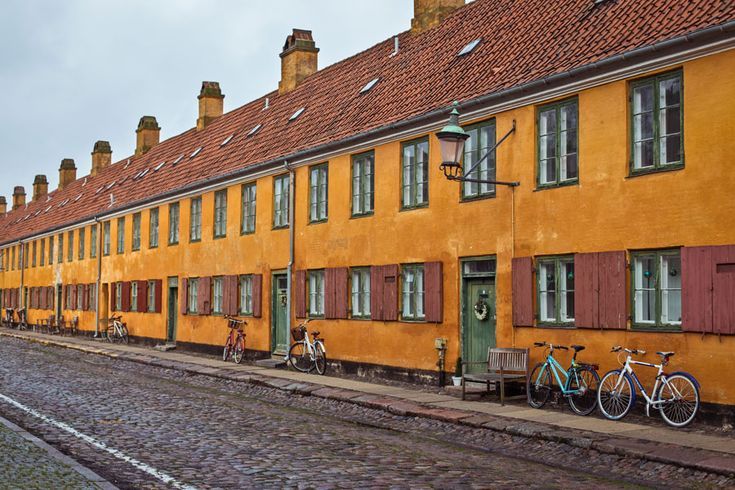 The old and beautiful yellow buildings in Copenhagen called Nyboder.