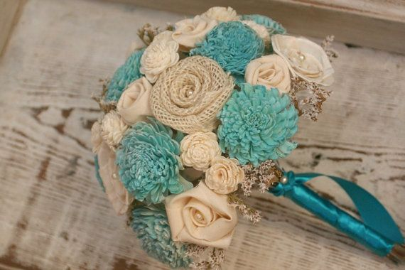 Aqua Teal Sola Wood Alternative Wedding Bouquet - Mixed Ivory Wood Flowers, Fabric Rosettes, Winter White Wildflowers, Burlap, Cream via Etsy
