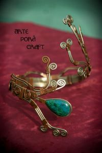 arm bracelet with chrysocolla  made in copper and nickel silver, alpacca