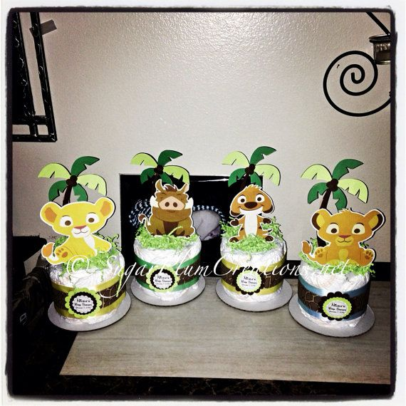 Set of 4 Lion King Diaper Cake Minis- Simba, Nala, Timon and Pumba on Etsy, $36.00