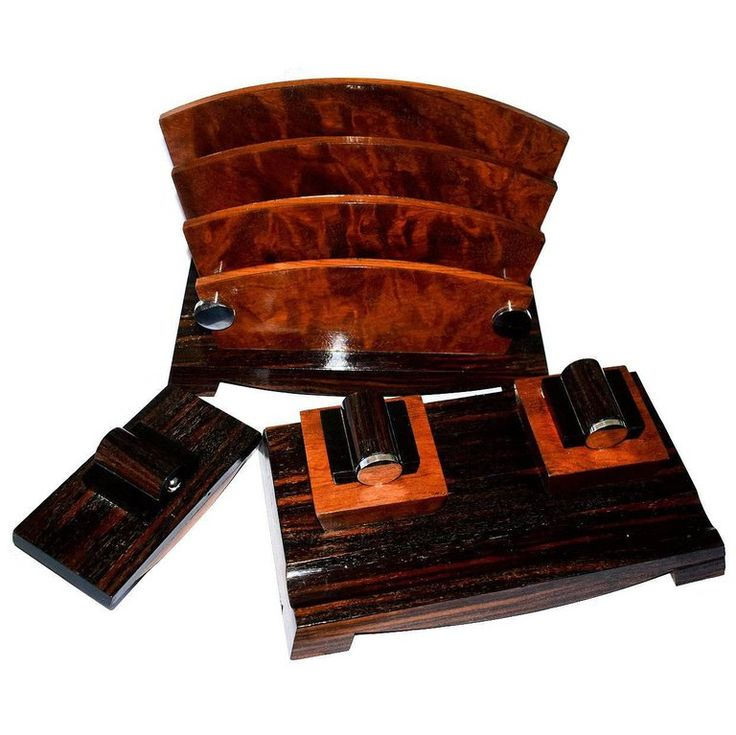 1930s French Art Deco Modernist Three-Piece Desk Set | From a unique collection of antique and modern desk-sets at https://luigi.1stdibs.com/furniture/decorative-objects/desk-accessories/desk-sets/