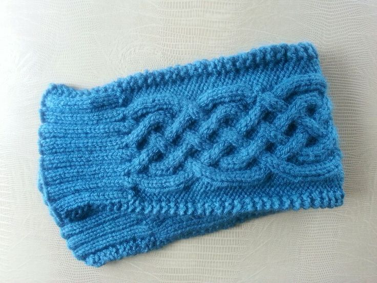Knit Celtic Cabled Ear Warmer in Antiqued Teal