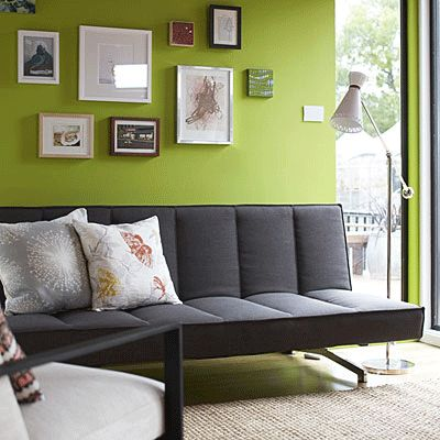 pictures of grey and green rooms | Gray, white furniture and light green paint colors, living room ...