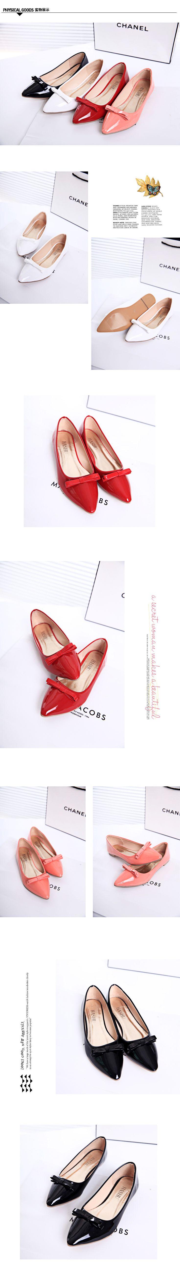 2014 осенние новые туфли мелкой ротовой лук плоские туфли лодка совок плоским заостренным черные ботинки женщин больших размеров обуви - Taobao