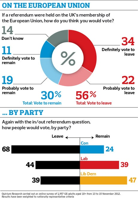 56% of Britons would vote to quit EU in referendum, poll finds