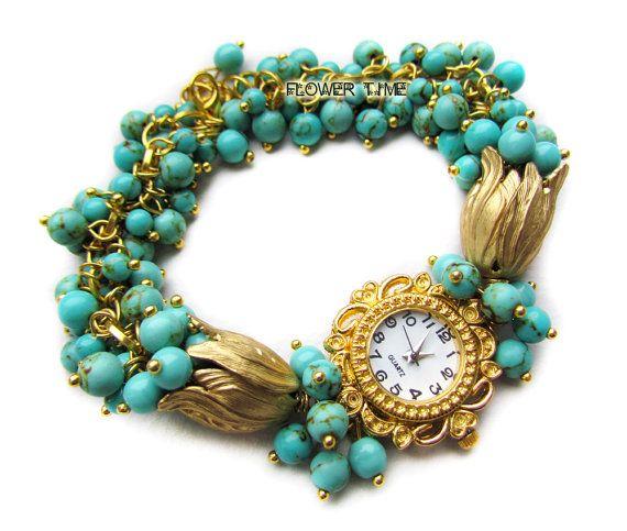 Blue wrist watch turquoise gold watch ladies watch by FlowerWatch