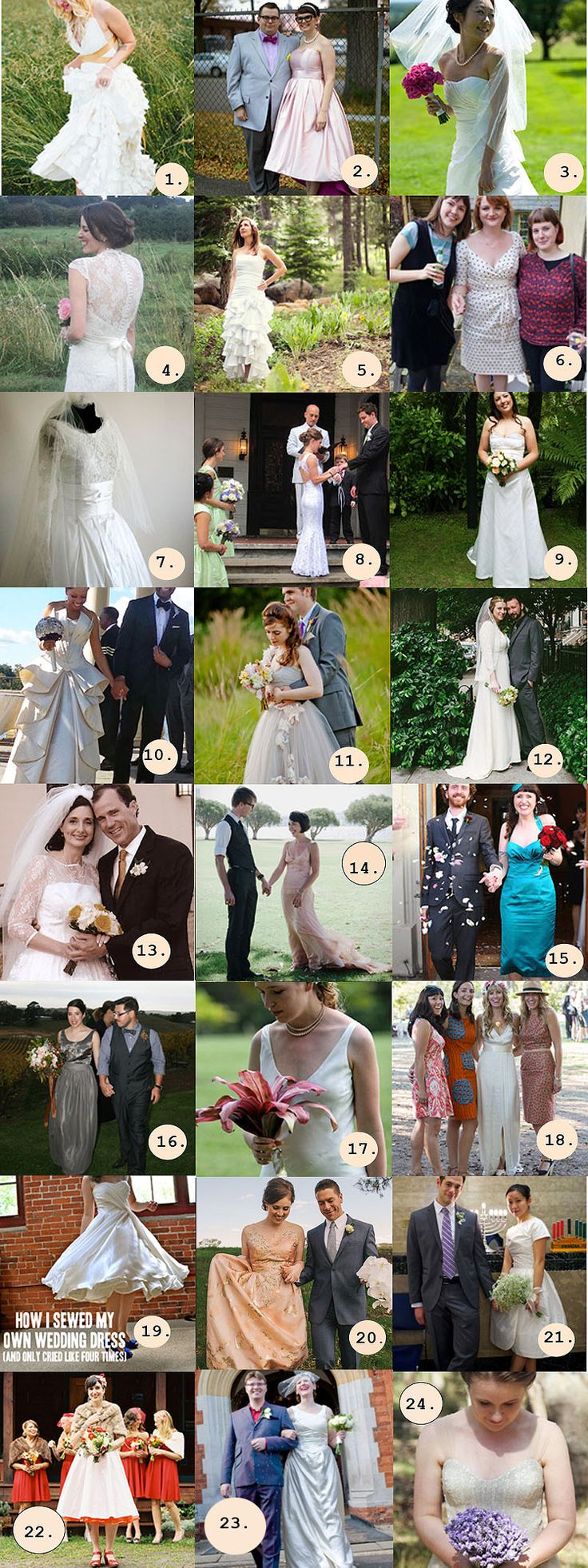 Inspirational sewers creating their own wedding dresses. Here is a list of 24 brave creators. #igive2hoots #wedding #dress #weddingdress #sewing #inspirational #alternative #handmade #sewer #ethical
