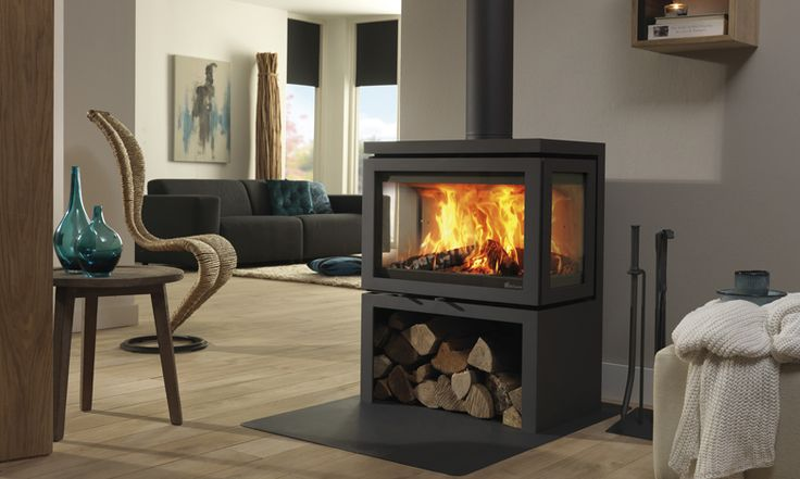 Vidar Triple 3-sided freestanding wood stove. Pete likes it ~ can it be put on a plinth to raise it?