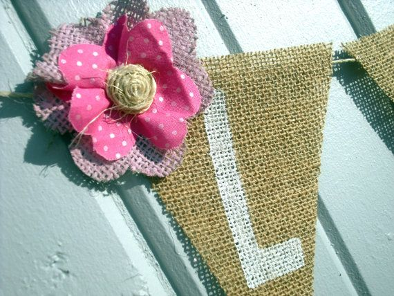 Name Banner on Neutral Burlap / Photography Prop by nhayesdesigns, $16.50