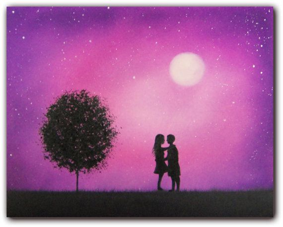 Starry Night Silhouette Art Love Art Oil Painting