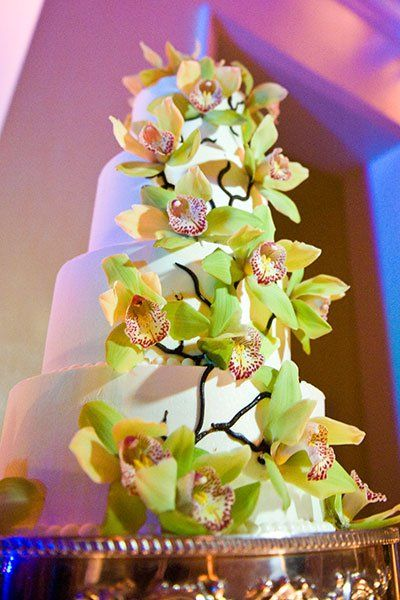 Dress the cake in cymbidium orchids for a tropical feel.  Photo Credit: Alexi Shields Photography (=)