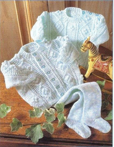 Baby Knitting Pattern - DK Aran Cardigan, Sweater and leggings - 16 - 22 in chest PDF