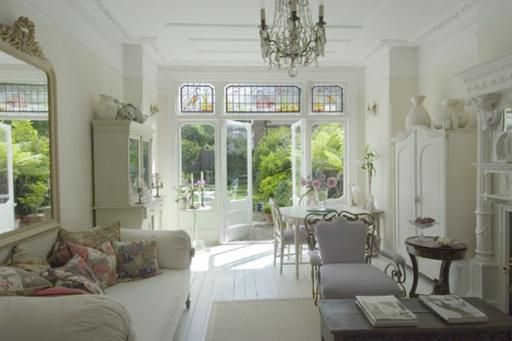 Edwardian House in London with white french antique furnishing location location 078