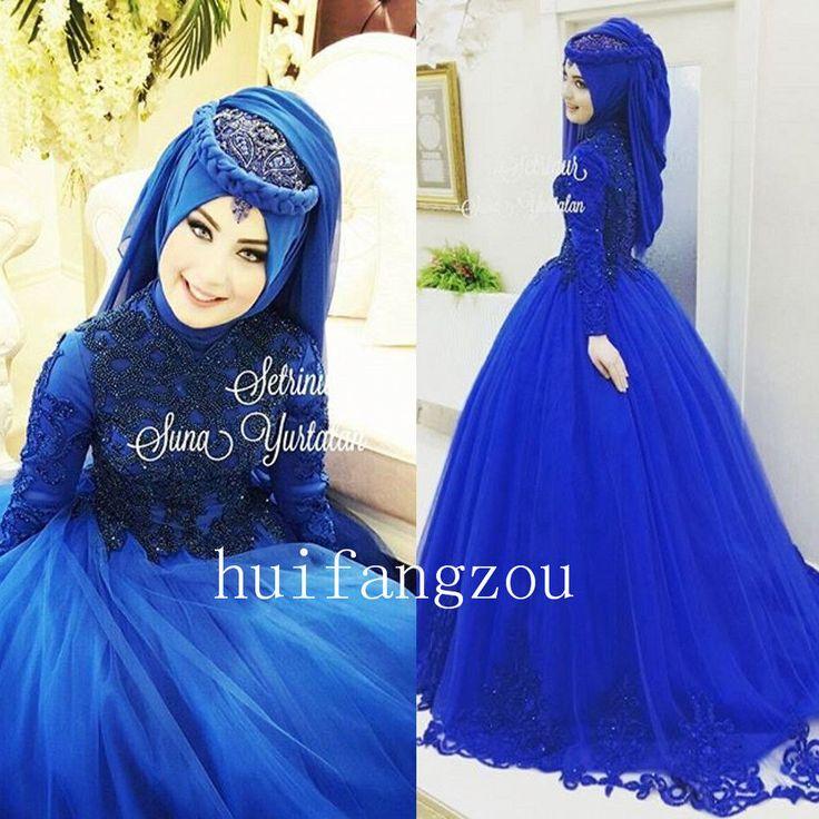 Royal Blue Muslim Wedding Dresses Formal Gown Appliques Beaded Custom High Neck More