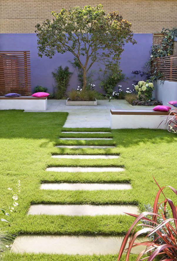 Perspective Tricks to Make Your Garden Appear Larger | Steppingstones on flat planes of grass or gravel | London Garden Designer, Chelsea Garden Design