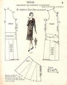 Free Vintage 1920s Flapper Dress Sewing Draft Pattern