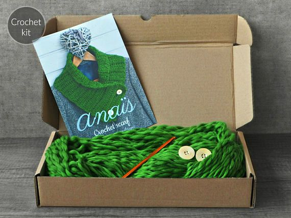 CROCHET KIT  Anaïs crochet scarf beginner crochet scarf