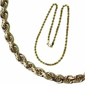 Mens Yellow Gold Rope Chain Necklace