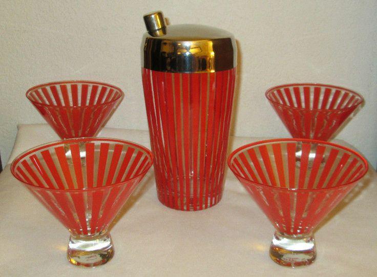 Good Vintage MID CENTURY MODERN RETRO RED STRIPE MARTINI COCKTAIL SHAKER U0026  GLASSES