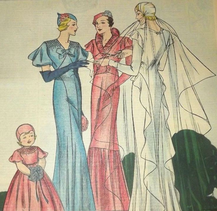 Designs for wedding gown and attendant's ensembles, 1934