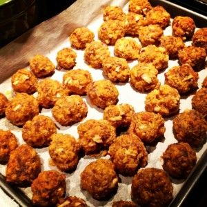 Sausage, Sharp Cheddar and Apple Balls as Seen on Fox 59 News Indianapolis ...chosen as one of The Produce Mom's 50 Favorite Apple Recipes!