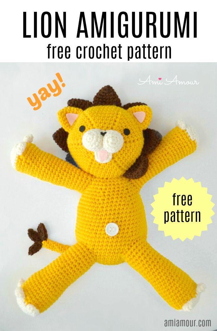 Crochet Lion Amigurumi Pattern - Free - Ami Amour | 1064x698