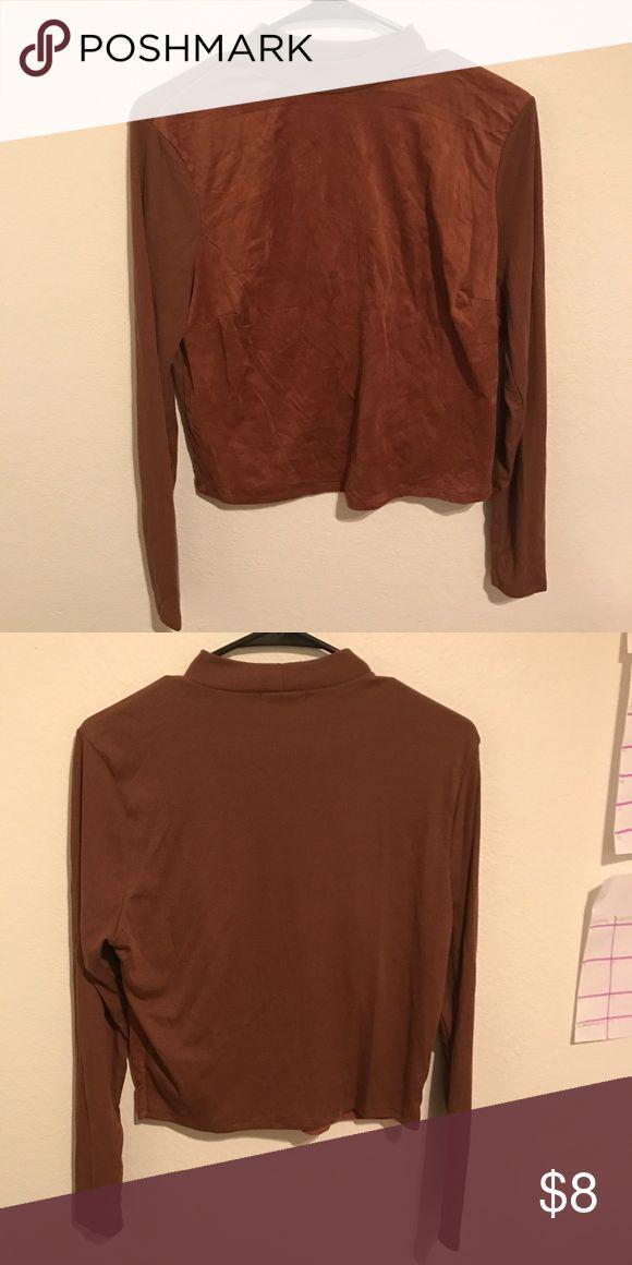 Plus Size Brown Long-Sleeve Crop Top 1X Brown Crop Top Never Worn (No Tags) Tops Crop Tops