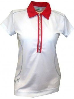 Daily Sports USA Women s Alexis Cap Sleeve Polo Golf Shirt with Trim-White  with Red Trim  ladiesgolfclothes 8e4c0dff22b8