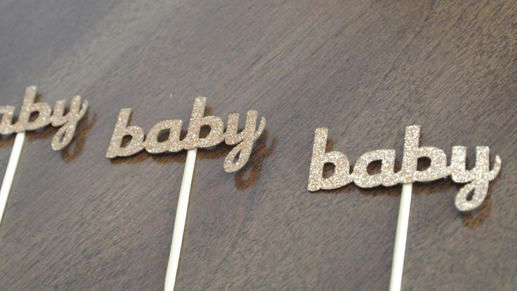 Gold Baby Shower Cupcake Toppers. 12CT. READY TO SHIP. By Paper Rabbit by PaperRabbit87 on Etsy