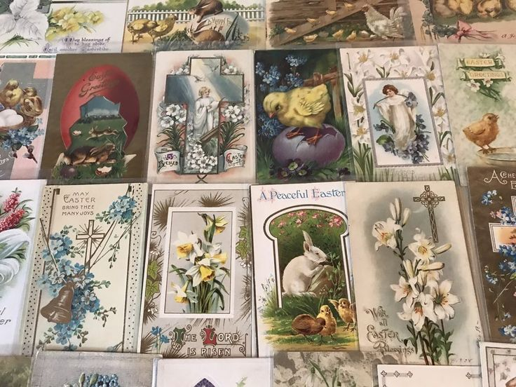 NICE LOT OF 25 VINTAGE  EASTER HOLIDAY POSTCARDS-CHICKS,BUNNY,ANGELS,1900's-p252 #Easter