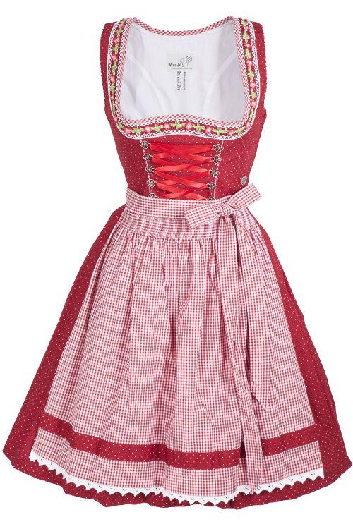Mini Dirndl Tiana aus Baumwolle in rot mit Punkten und Blumenborte