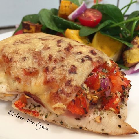 Pizza Topped Chicken Breast With Salad