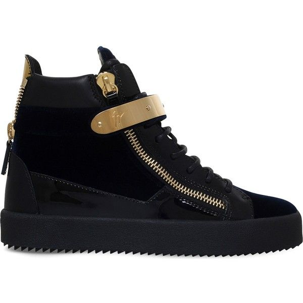 Giuseppe Zanotti May London patent-leather and suede trainers (935 NZD) ❤ liked on Polyvore featuring shoes, sneakers, patent sneakers, patent leather sneakers, zipper shoes, zipper sneakers and suede leather shoes