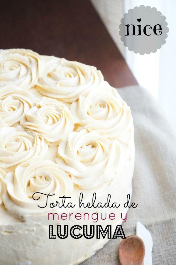 Torta helada de merengue y lúcuma